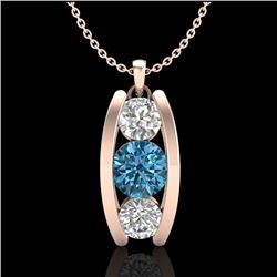 1.07 CTW Fancy Intense Blue Diamond Solitaire Art Deco Necklace 18K Rose Gold - REF-123V6Y - 37776