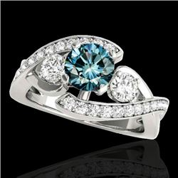 1.76 CTW SI Certified Fancy Blue Diamond Bypass Solitaire Ring 10K White Gold - REF-209V3Y - 35041