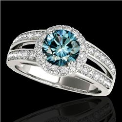 1.60 CTW SI Certified Fancy Blue Diamond Solitaire Halo Ring 10K White Gold - REF-180M2F - 34252