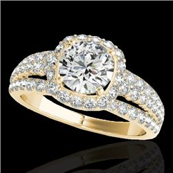 2 CTW H-SI/I Certified Diamond Solitaire Halo Ring 10K Yellow Gold - REF-180H2M - 34000