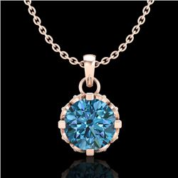 0.85 CTW Fancy Intense Blue Diamond Solitaire Art Deco Necklace 18K Rose Gold - REF-90W9H - 37370