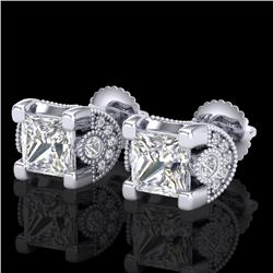 2.5 CTW Princess VS/SI Diamond Art Deco Stud Earrings 18K White Gold - REF-642N2A - 37151