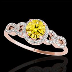 1.33 CTW Certified SI/I Fancy Intense Yellow Diamond Solitaire Ring 10K Rose Gold - REF-213M6F - 353