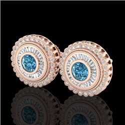2.61 CTW Fancy Intense Blue Diamond Art Deco Stud Earrings 18K Rose Gold - REF-300R2K - 37909