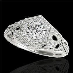 1.40 CTW H-SI/I Certified Diamond Solitaire Antique Ring 10K White Gold - REF-245V5Y - 34175