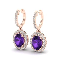 3.50 CTW Amethyst & Micro Pave VS/SI Diamond Earrings Halo 14K Rose Gold - REF-83N6A - 20307