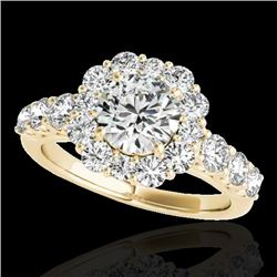 2.25 CTW H-SI/I Certified Diamond Solitaire Halo Ring 10K Yellow Gold - REF-250K9W - 33384
