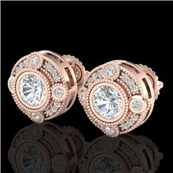 1.50 CTW VS/SI Diamond Solitaire Art Deco Stud Earrings 18K Rose Gold - REF-263Y6X - 36981