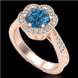 1.33 CTW Fancy Intense Blue Diamond Solitaire Art Deco Ring 18K Rose Gold - REF-227N3A - 37958
