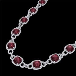 66 CTW Garnet & Micro VS/SI Diamond Certified Eternity Necklace 14K White Gold - REF-794W5H - 23043