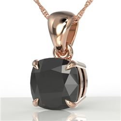 3 CTW Cushion Cut Black VS/SI Diamond Designer Necklace 14K Rose Gold - REF-73F3N - 21934