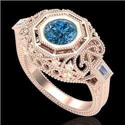 1.13 CTW Fancy Intense Blue Diamond Solitaire Art Deco Ring 18K Rose Gold - REF-240V2Y - 37825