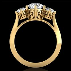 1.51 CTW VS/SI Diamond Solitaire Art Deco 3 Stone Ring 18K Yellow Gold - REF-427F3N - 37237