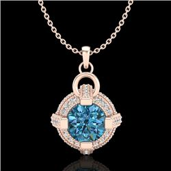 1.57 CTW Fancy Intense Blue Diamond Micro Pave Stud Necklace 18K Rose Gold - REF-147F3N - 37636