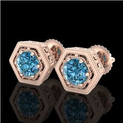1.07 CTW Fancy Intense Blue Diamond Art Deco Stud Earrings 18K Rose Gold - REF-131W8H - 37510