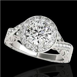 1.75 CTW H-SI/I Certified Diamond Solitaire Halo Ring 10K White Gold - REF-360K5W - 34522