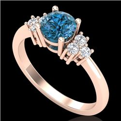 1 CTW Fancy Intense Blue Diamond Engagement Classic Ring 18K Rose Gold - REF-130Y9X - 37594