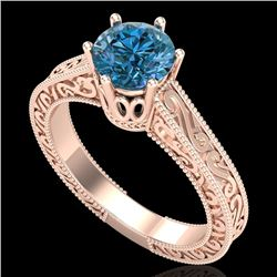 1 CTW Intense Blue Diamond Solitaire Engagement Art Deco Ring 18K Rose Gold - REF-200N2A - 37573