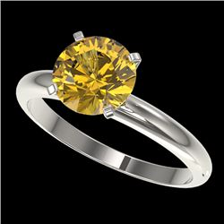 2 CTW Certified Intense Yellow SI Diamond Solitaire Engagement Ring 10K White Gold - REF-527K3W - 32