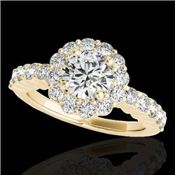 1.75 CTW H-SI/I Certified Diamond Solitaire Halo Ring 10K Yellow Gold - REF-180F2N - 34161