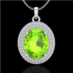 4.50 CTW Peridot & Micro Pave VS/SI Diamond Certified Necklace 18K White Gold - REF-112M7F - 20569