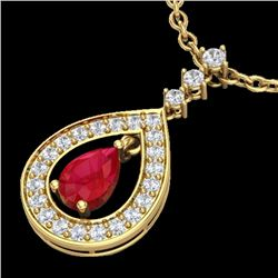1.15 CTW Ruby & Micro Pave VS/SI Diamond Necklace Designer 14K Yellow Gold - REF-60R9K - 23169