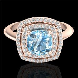 2.02 CTW Sky Blue Topaz & Micro VS/SI Diamond Certified Halo Ring 14K Rose Gold - REF-60K2W - 20753