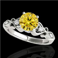 1.15 CTW Certified SI Intense Yellow Diamond Solitaire Antique Ring 10K White Gold - REF-156X4R - 34