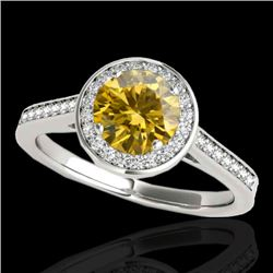 1.93 CTW Certified SI/I Fancy Intense Yellow Diamond Solitaire Halo Ring 10K White Gold - REF-309Y3X