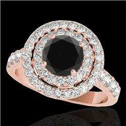 3 CTW Certified VS Black Diamond Solitaire Halo Ring 10K Rose Gold - REF-147Y3X - 34224