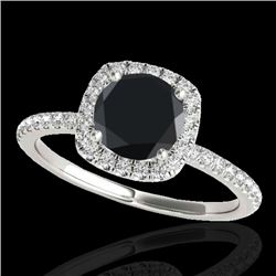1.25 CTW Certified VS Black Diamond Solitaire Halo Ring 10K White Gold - REF-55F3N - 33328