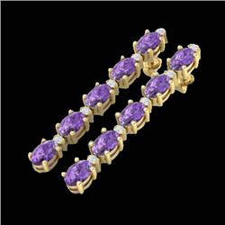 6 CTW Amethyst & VS/SI Diamond Certified Tennis Earrings 10K Yellow Gold - REF-36X4R - 21510