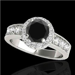 2.1 CTW Certified VS Black Diamond Solitaire Halo Ring 10K White Gold - REF-102H9M - 34543