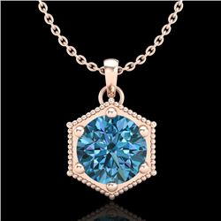 0.82 CTW Fancy Intense Blue Diamond Solitaire Art Deco Necklace 18K Rose Gold - REF-114A5V - 38049