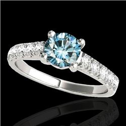 1.55 CTW SI Certified Fancy Blue Diamond Solitaire Ring 10K White Gold - REF-207R3K - 35494