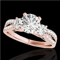 1.50 CTW H-SI/I Certified Diamond 3 Stone Solitaire Ring 10K Rose Gold - REF-172W7H - 35404