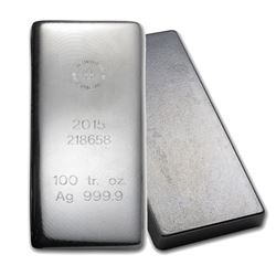 One piece 100 oz 0.999 Fine Silver Bar Republic Metals Corporation-57949
