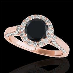 1.50 CTW Certified VS Black Diamond Solitaire Halo Ring 10K Rose Gold - REF-73Y6X - 33566