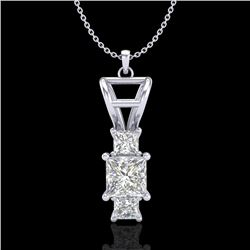 1.54 CTW Princess VS/SI Diamond Solitaire Art Deco Necklace 18K White Gold - REF-418W2H - 37202