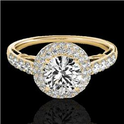1.65 CTW H-SI/I Certified Diamond Solitaire Halo Ring 10K Yellow Gold - REF-178R2K - 33699