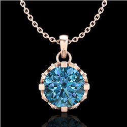 1.14 CTW Fancy Intense Blue Diamond Solitaire Art Deco Necklace 18K Rose Gold - REF-125M5F - 37377
