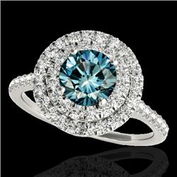 1.50 CTW SI Certified Fancy Blue Diamond Solitaire Halo Ring 10K White Gold - REF-163W6H - 33356