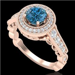 1.12 CTW Fancy Intense Blue Diamond Solitaire Art Deco Ring 18K Rose Gold - REF-167N3A - 37692