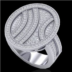 1.25 CTW Micro Pave VS/SI Diamond Certified Ring 14K White Gold - REF-111V3Y - 20876