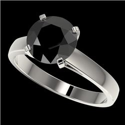2.59 CTW Fancy Black VS Diamond Solitaire Engagement Ring 10K White Gold - REF-55A5V - 36563