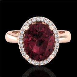 2.50 CTW Garnet And Micro Pave VS/SI Diamond Certified Ring Halo 14K Rose Gold - REF-38K9W - 21105