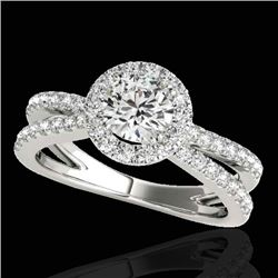 1.55 CTW H-SI/I Certified Diamond Solitaire Halo Ring 10K White Gold - REF-178F2N - 33846