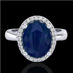 3 CTW Sapphire And Micro Pave VS/SI Diamond Certified Ring Halo 18K White Gold - REF-60A2V - 21114