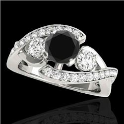 2.01 CTW Certified VS Black Diamond Bypass Solitaire Ring 10K White Gold - REF-113V3Y - 35048
