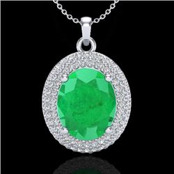 4.50 CTW Emerald & Micro Pave VS/SI Diamond Certified Necklace 18K White Gold - REF-120F9N - 20562